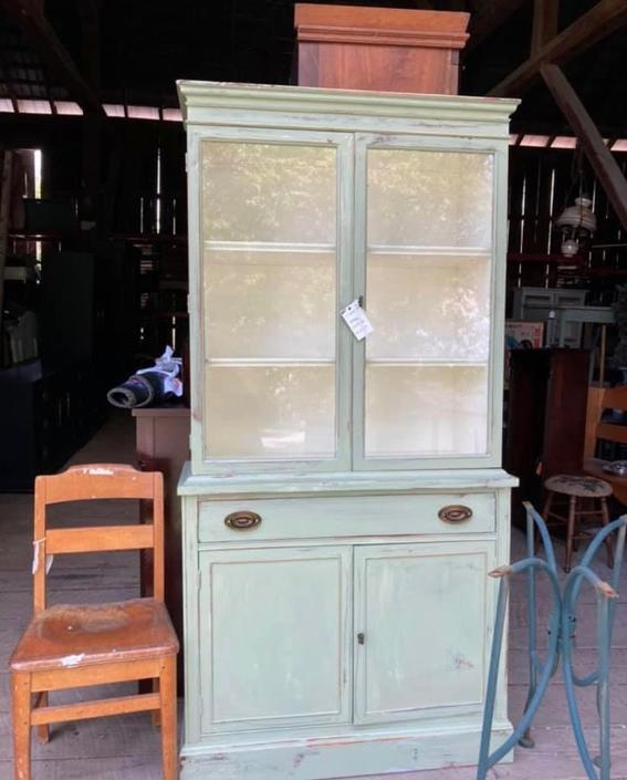 Mint Green Glass Hutch