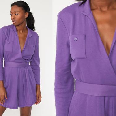 Purple Mini Dress 70s Wrap Dress Boho Deep V Neck Long Sleeve 80s Bohemian Vintage High Waist Retro Plain Small by ShopExile