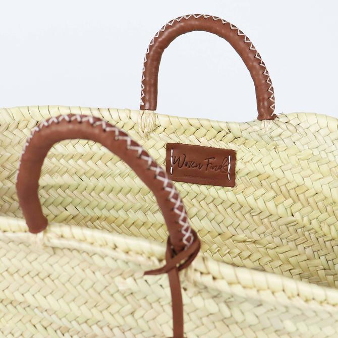 SOCCO Designs - Honolulu Straw French Basket with Leather Tassel