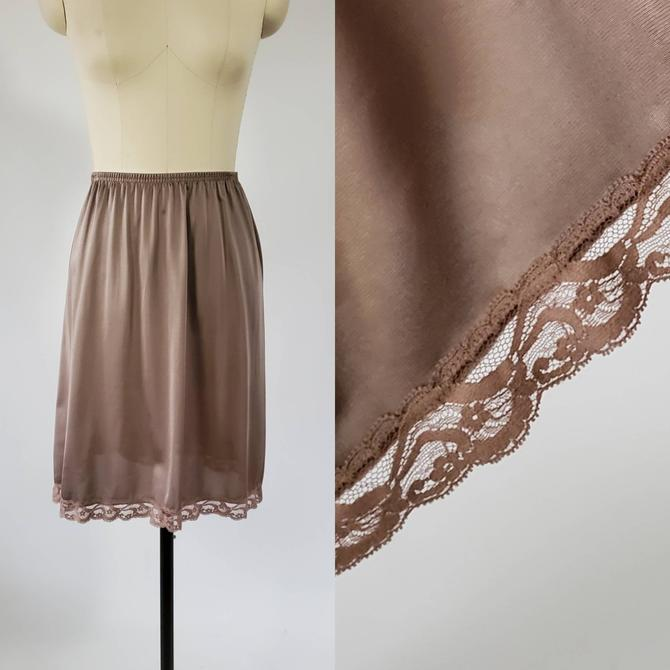 1970s Vanity Fair Half in Cocoa Brown  70's Skirt Slip 70s Lingerie Women's Vintage Size Medium by HeySailorNiceVintage