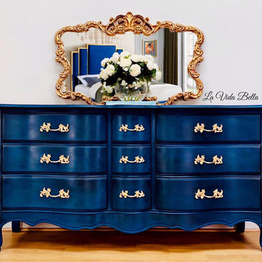 Stunning Hand Painted French Console, Dresser, Buffet, Sideboard, Credenza, Entryway Table. by LaVidaBellaDesign