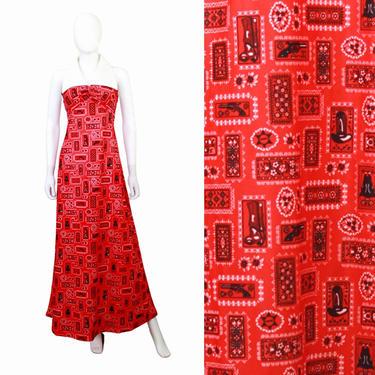 1970s Western Novelty Print Maxi Dress - 1970s Cowboy Novelty Print Dress - 1970s Gun Novelty Print Dress - 70s Red Maxi Dress | Size Small by VeraciousVintageCo