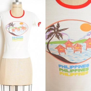 vintage 70s ringer tee white Disney PHILIPPINES tourist baby t shirt top XS clothing fitted by huncamuncavintage