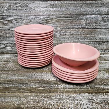 Vintage Boontonware Dishes, Pink Dinnerware, 23 Piece Plastic Melamine Melmac Dish Set, 1950s Bowl & Plates, Camping Dishes, Vintage Kitchen by AGoGoVintage