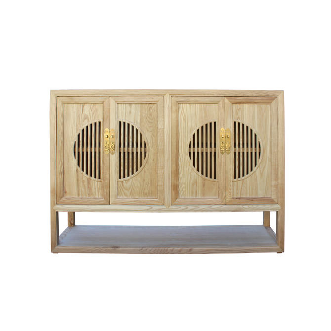 Light Natural Raw Wood Shutter Doors Bookcase Credenza Cabinet cs4540E by GoldenLotusAntiques
