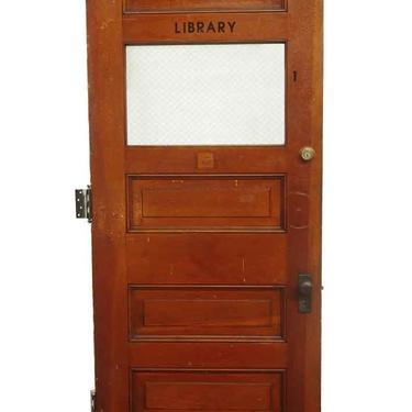 Antique 1 Lite 4 Pane Wood Library Door 89.375 x 35.875