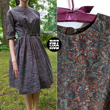Sweet Vintage 50s Dark Patterned Fit & Flare Cotton Dress by RETMOD