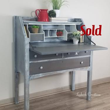 SOLD Vintage Secretary Desk. Entry Accent Table. Farmhouse Office Storage. Rustic Country Bedroom Furniture. Painted Refinished Writers Desk by LuebeckCreations
