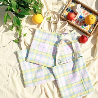 Pastel Picnic Plaid Print Handmade Tote Bag Vintage Upcycled Cottage core Cotton Tote Bag by AppleBranchesVintage