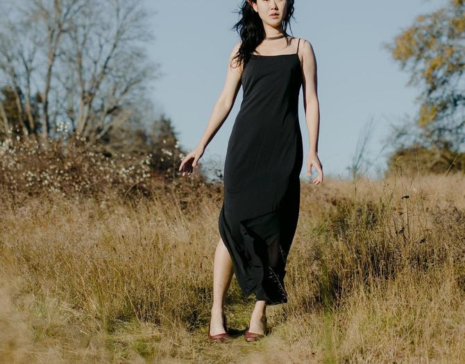 vintage 1990s black sleeveless maxi dress size medium by miragevintageseattle