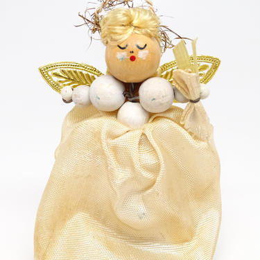 Vintage Angel Christmas Doll with Hand Painted Face, Gold Foil Wings, Tinsel Halo, Retro Decor by exploremag