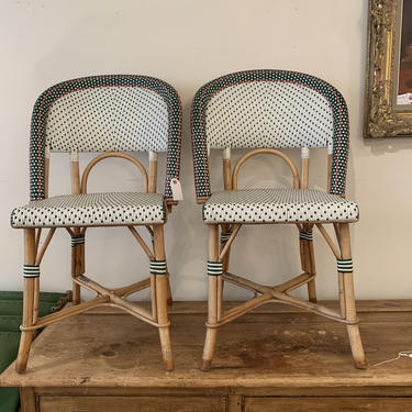 French Wicker and Bamboo Bistro Chairs Pair by coloniaantiques