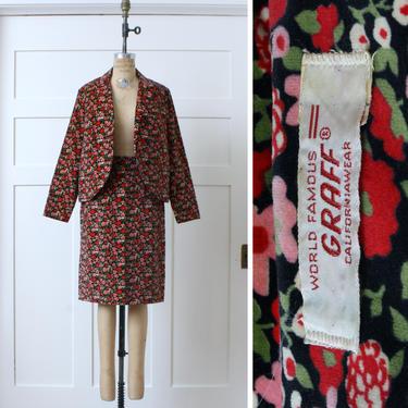 vintage 1960s womens suit •mod red pink & black floral velveteen jacket and skirt set by LivingThreadsVintage