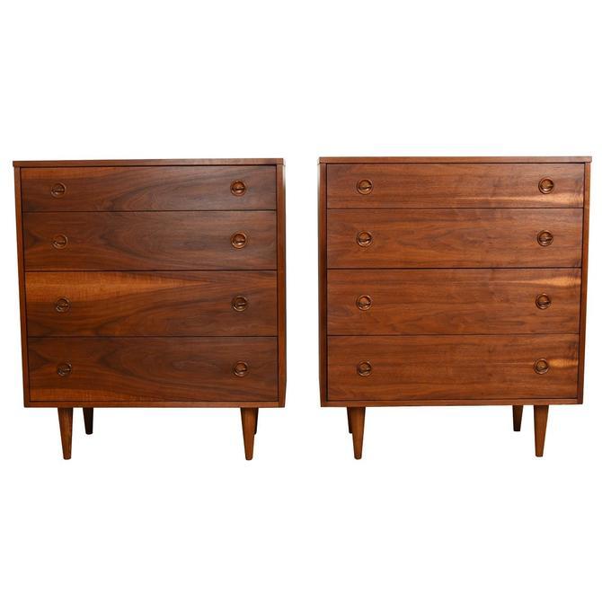 Walnut Mid-Century Pair of Tall Dressers Drawers