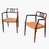 Pair of Danish Modern Rosewood Niels M\u00f8ller Accent Arm Chairs