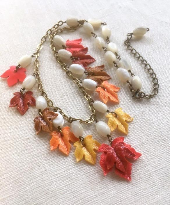 Autumn Equinox [assemblage necklace: 1940s plastic leaves, mother of pearl, vintage chain] by nonasuch