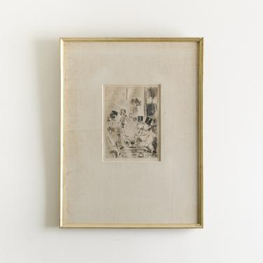 SSBL-Antique Original Etching Signed by Famous French Impressionist Artist Jean Louis Forain (1852-1931) by HouseofSeance