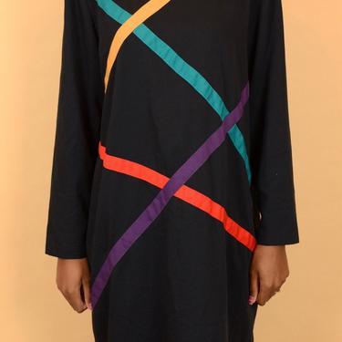 Vintage Black Multicolor Striped Long Sleeve Midi Shift Dress (Large, Oversize) by MAWSUPPLY