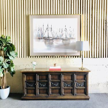 Walnut Credenza with Carved Relief