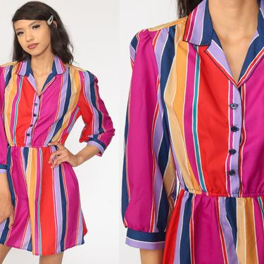 Striped Puff Sleeve Dress Purple 1980s Mini Dress Rainbow Bohemian High Waisted Boho Secretary Vintage 80s button up Minidress Small Medium by ShopExile