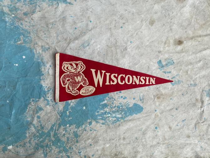 Vintage University of Wisconsin Felt Pennant Home Decor by NorthGroveAntiques