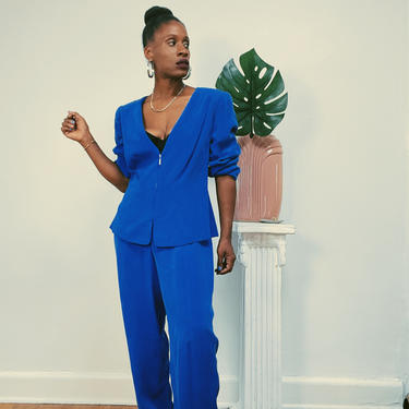 Vintage 1980s 1990s Silk Blue Pant Suit with Tags Zip Front Blazer Jacket Flat Front High Waist Pants Plus Size Cobalt 14 Petite by KeepersVintage