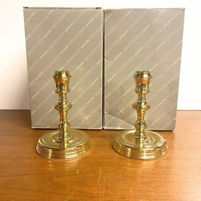"""Vintage Baldwin Brass Burgess Candlesticks American Museum Collection 6"""" Pair 7023 by OverTheYearsFinds"""