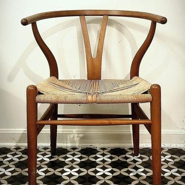 Hans Wegner CH24 Wishbone, all original Arm Chair Mid Century Modern Vintage Lounge Danish Denmark by CaribeCasualShop