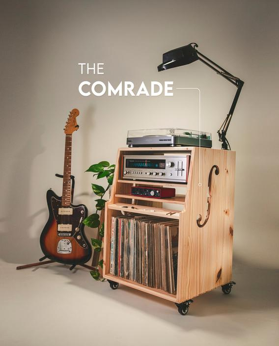 """The """"Comrade"""" CONSOLE CABINET - Vinyl record stand - storage - media console - custom wood - studio furniture - shelf - entertainment by MunstreGlow"""