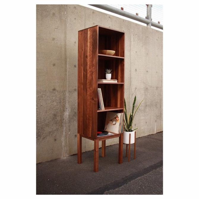 Vaughn Vinyl Tower, Vinyl Storage, Bookcase, Bookshelf, Media Storage, (Shown in Walnut) by TomfooleryWood
