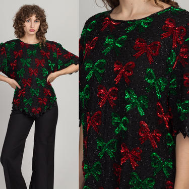 Vintage Laurence Kazar Silk Beaded Bow Tie Blouse - 2X | 80s 90s Black Sequined Boho Top by FlyingAppleVintage