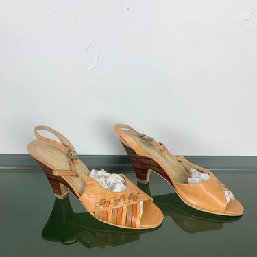Vintage 70s 1970s Tan Olive Rust Woven Leather Brazilian Kitten Heel Open Toe Peep Toe Size 5 1/2 Hippy Boho Bohemian Sandals Slippers Shoes by ErraticStaticVintage