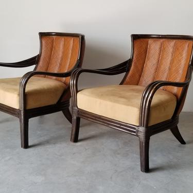 Vintage Palecek of San Francisco Rattan Lounge Chairs- a Pair. by MIAMIVINTAGEDECOR