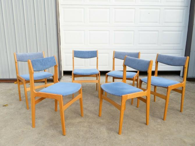 VTG Set of 6 DANISH MODERN DINING CHAIRS Birch Wood BLUE SEAT Mid Century Table