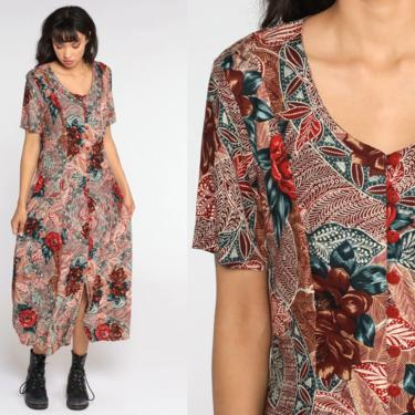 90s Floral Dress Red Brown Midi Grunge Button Up Dress Boho 90s Bohemian Sheath 1990s Short Sleeve Vintage Garden Party Medium by ShopExile