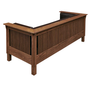 Mission Arts and Crafts Stickley Style Prairie Spindle Leather Settle Sofa by DaleMartinFurniture