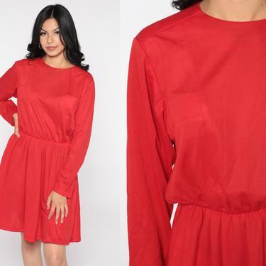 70s Mini Dress Plain Red Long Sleeve 80s High Waist Dress Plain Simple Day Dress Casual Dress Secretary Vintage Boho Medium by ShopExile