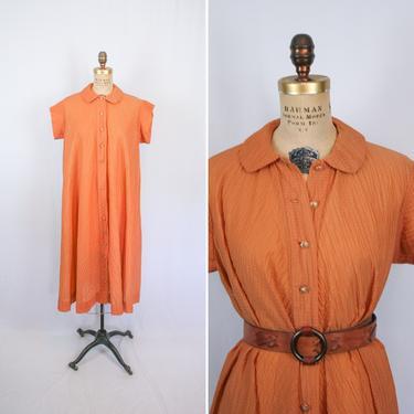 Vintage 70s dress | Vintage terra cotta crinkle crepe dress | 1970s Trapeze copper brown day dress by BeeandMason
