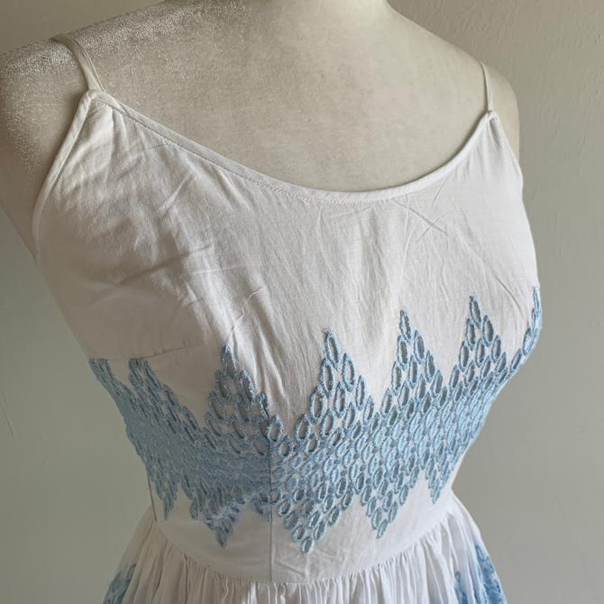 Light and Airy 1950s Jerry Gilden Cotton Lawn Sundress Embroidery 34 Bust by AmalgamatedShop