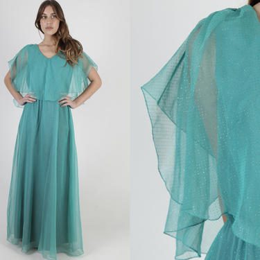 Aqua Long Chiffon Dress / Vintage 70s Green Metallic Dress / Vintage Sheer Floor Length Flutter Sleeves / Thin Cape Cocktail Party Maxi by americanarchive
