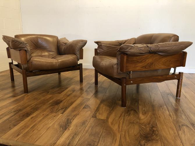 Percival Lafer Rosewood & Leather Chairs, Pair