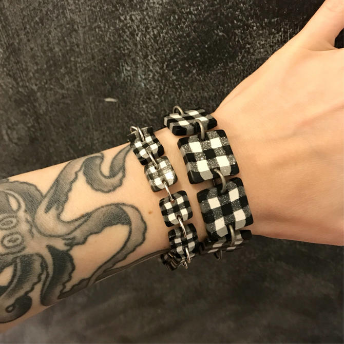 Gingham bracelets - handmade with polymer clay, inspired by what Nina Garcia was wearing on Project Runway by ChrisBergmanHandmade