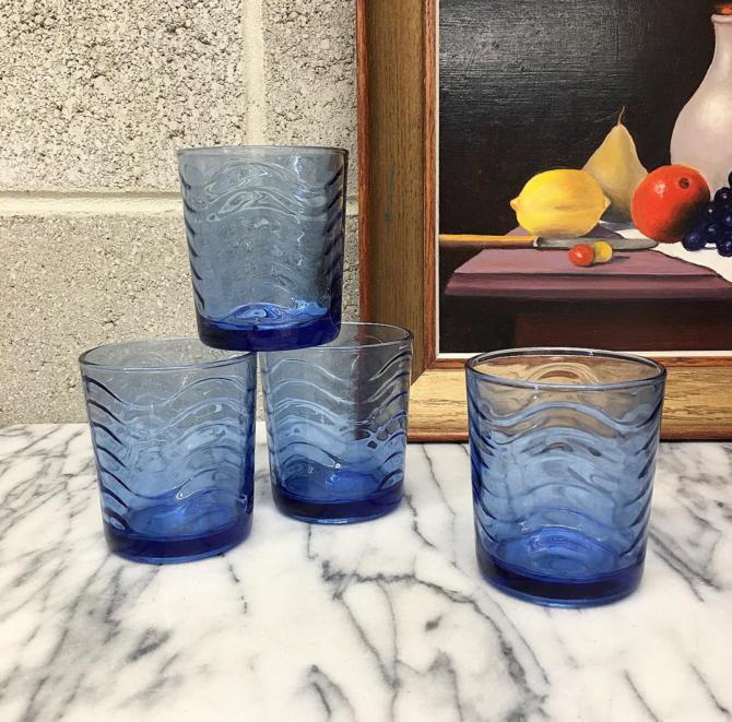 Vintage Drinking Glasses Set Retro 1960s KIG Indonesia + Mid Century Modern + Cobalt Blue + Wave Design + Set of 4 Matching + Kitchen Decor by RetrospectVintage215