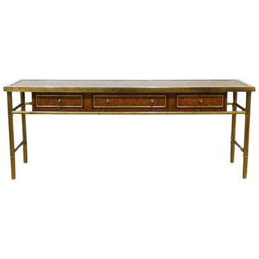 Midcentury Mastercraft Bamboo Style Brass and Burled Walnut Console Table