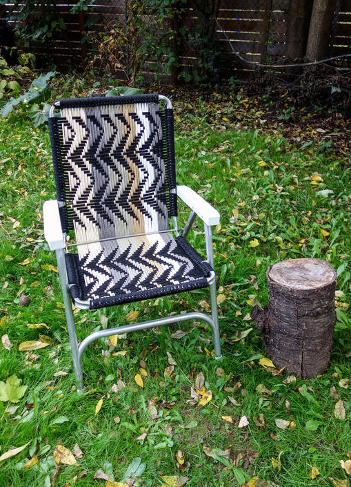Woven Outdoor Chair in Cool Neutral Colors, Unique Folding Macrame Lawn Chair Zig Zag Pattern Glamping Seating, Camp Festival forest fathers by forestfathers