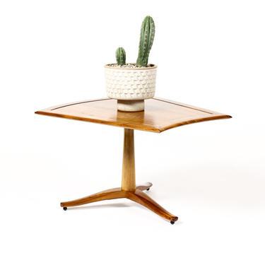 Danish Modern / Mid Century Walnut tripod Wedge Side / End Table — Barney Flagg for Drexel Parallel by atomicthreshold