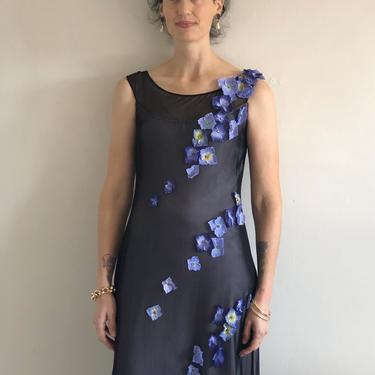 90s sheer mesh overlay maxi dress / vintage stretch mesh net floating appliqué flowers sleeveless long dress | XS S by RecapVintageStudio