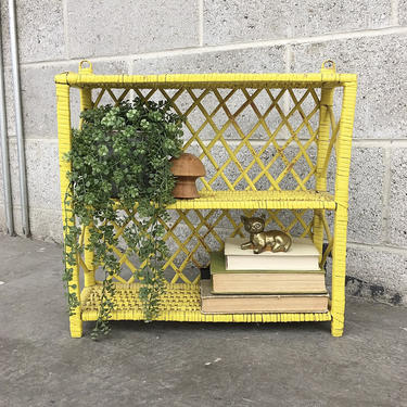 Wicker Rack Retro 1980s Bohemian + Yellow + Two Tier + Woven Design + Open Shelving and Display + Home and Wall Decor + Plant Stand by RetrospectVintage215