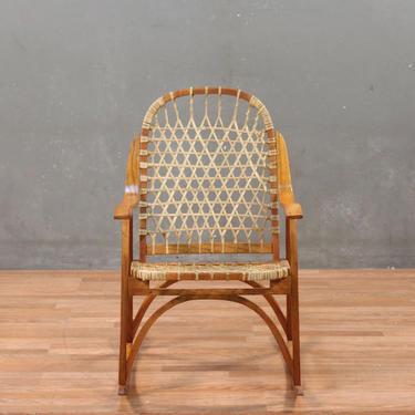 Sno-Craft Mid Century Oak & Rawhide Snowshoe Rocking Chair
