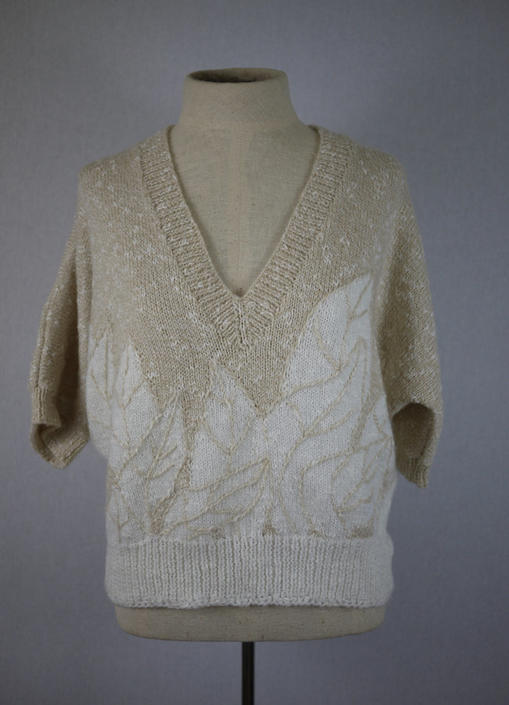 Beige and Ivory Cropped V Neck Short Sleeve Petal Sweater by citybone